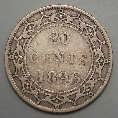 1896  Newfoundland Canada 20 Cent Old Silver Canadian Victoria Coin Large 96