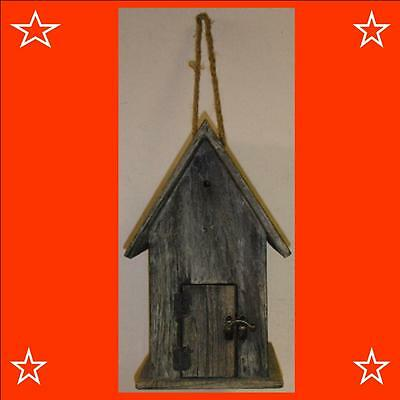 Traditional Wooden Garden Bird House Nesting Bird Box With Hanging Rope