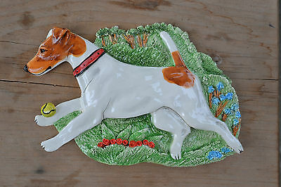 Smooth Fox terrier.. Handsculpted ceramic wall plaque..LOOK