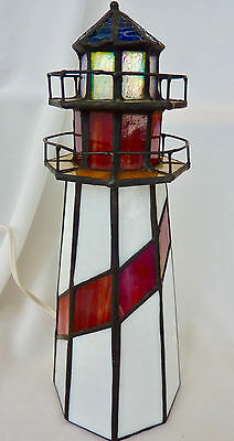 Stained Glass Lighthouse Accent Light; Well Made! Works, Electric
