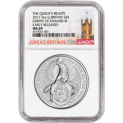 2017 Great Britain Silver Queen's Beasts Griffin £5 - NGC MS69 Early Releases