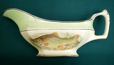 STUNNING VINTAGE Ca 1930s WOOD'S IVORY (colour) WARE EARTHENWARE FISH GRAVY BOAT