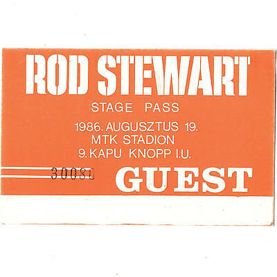 ROD STEWART Concert Ticket Backstage Pass BUDAPEST HUNGARY 8/19/86 THE FACES