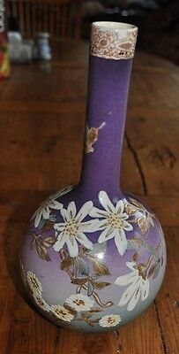 Fine Antique Signed Japanese Satsuma Pottery Vase 10.5 Inch Butterflies/Flowers