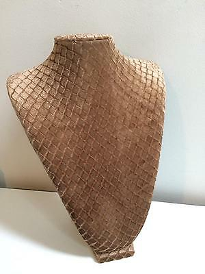 Jewelry Necklace Display Stand Bust Textured Diamond Pattern Taupe