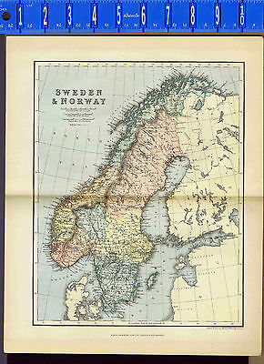 SWEDEN & NORWAY 1890 Antique Color Map  - Johnston - Chambers