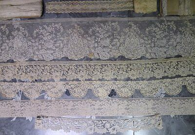 Beautiful Lot of Antique Lace Fragments and Trim Yardage