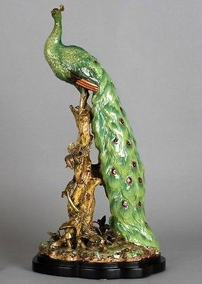 Vintage Style Large Porcelain  Peacock Figurine On Trunk,19''h.