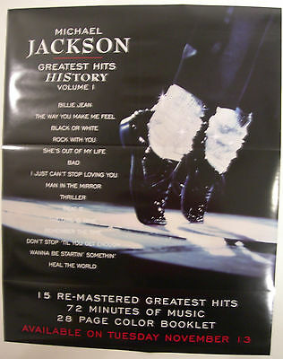Michael Jackson Greastest Hits History Vol 1  Us Promo Poster 2001