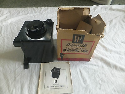 Vintage FR Adjustable Cut Film Pack Developing Tank with Instructions