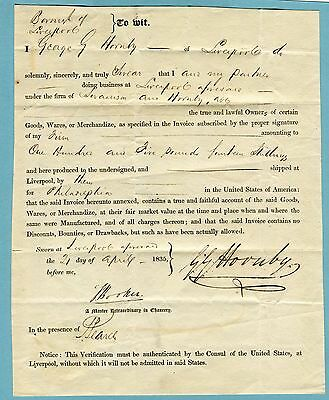 1835 Shipping document for goods from Liverpool to Philadelphia (2342