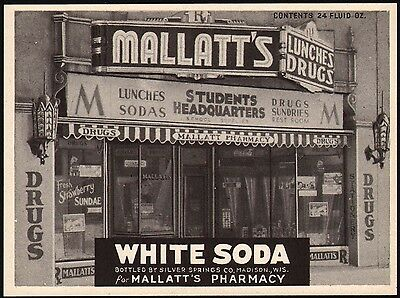 Vintage soda pop bottle label MALLATTS WHITE SODA pharmacy picture Madison Wisc