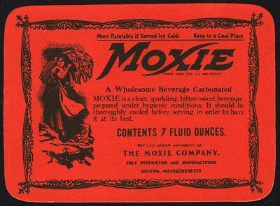 Vintage soda pop bottle label MOXIE early one woman with wheat pictured n-mint+