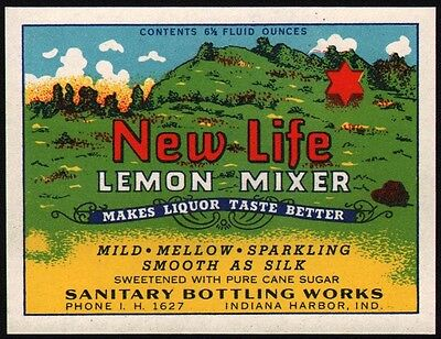 Vintage soda pop bottle label NEW LIFE LEMON MIXER Indiana Harbor Ind n-mint+