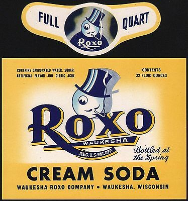 Vintage soda pop bottle label ROXO CREAM SODA Waukesha Wisconsin unused n-mint+