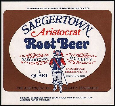Vintage soda pop bottle label SAEGERTOWN ROOT BEER Aristocrat pictured PA nrmt+