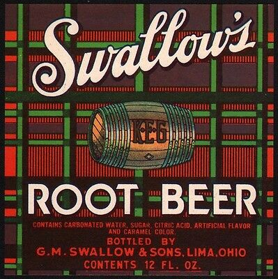 Vintage soda pop bottle label SWALLOWS ROOT BEER Lima Ohio new old stock n-mint+