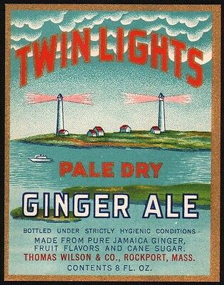 Vintage soda pop bottle label TWIN LIGHTS GINGER ALE lighthouses Rockport Mass