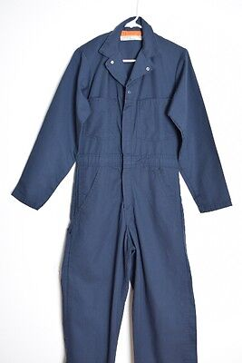 vintage 70s jumpsuit navy blue twill mechanic uniform one piece outfit romper M