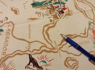 "Vtg MAP & SCENES of CANADA TABLECLOTH 50x41"" perhaps from 1940's"