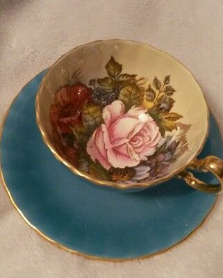 Aynsley-England-Bone China Handpainted Bailey Blue Background Cup/saucer-2