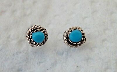 Sterling Silver TINY 6mm Handcrafted Zuni synthetic Turquoise Stud Earrings