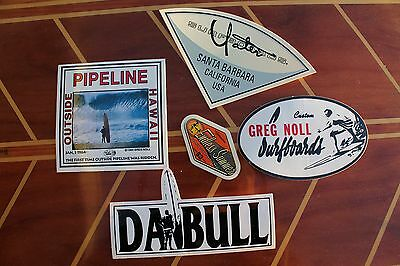 Vintage GREG NOLL Surfing and Silver Yater Surf Vinyl Sticker - Lot of 5