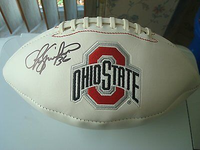 OHIO STATE BUCKEYES CHRIS SPIELMAN SIGNED EMBROIDERED LOGO FOOTBALL w COA