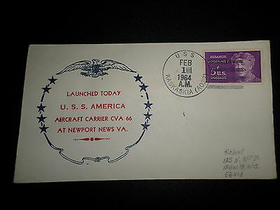 Us Naval Cover:  1964 Launching Of Uss America Aircraft Carrier