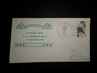 Us Naval Cover:  1964 Launching Of Uss Greenling