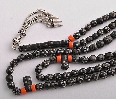 Antique black coral Makawy -worry beads-komboloi strand