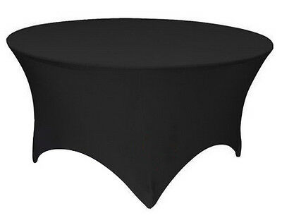 "60"" ROUND SPANDEX Tablecloth Wedding Banquet Party Stretch Table Cover, BLACK"