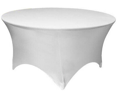 "60"" ROUND SPANDEX Tablecloth Wedding Banquet Party Stretch Table Cover, WHITE"