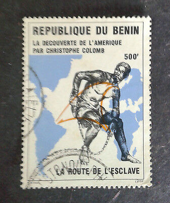 Benin Discovery Of America Columbus' Route And Map  1V Stamp  Used