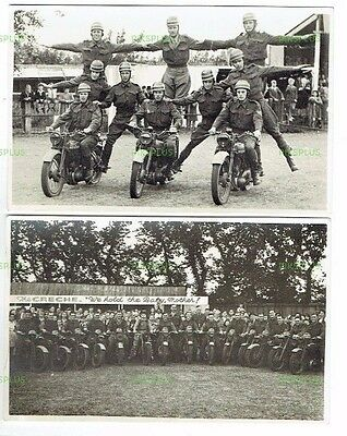Old Postcard Size Photos Army Motorcycle Display Team Vintage 1940S