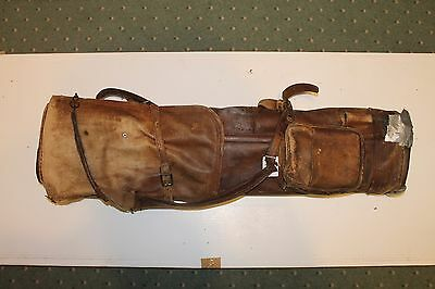 Vintage Leather Golf Bag for Repair or Restoration with Rainhood