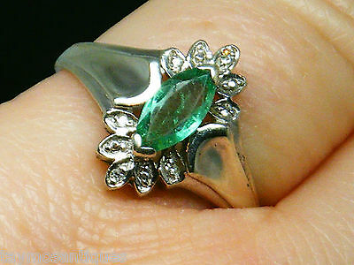 9k Gold 9ct white gold  emerald & diamond ring size N Boxed & hallmarked
