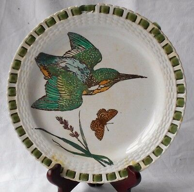 C19Th Minton Coleman's Naturalist Motifs Hand Painted Kingfisher Ribbon Plate