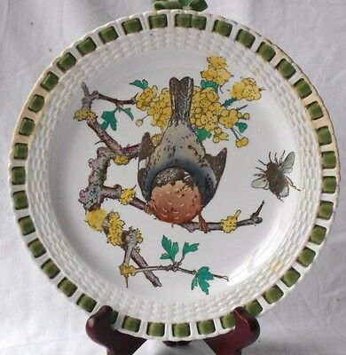 C19Th Minton Coleman's Naturalist Motifs Hand Painted Bird Ribbon Plate