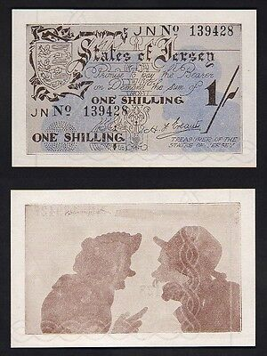 JERSEY - WW.11 German Occupation. P-2a  (1941-42) One Shilling..  UNC