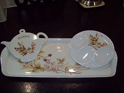M&s Harvest Trio Sandwich Tray Spoon Rest Teabag Stand - Excellent Condition