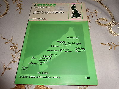 Western National Bus Timetable - Cornwall Area  - May 1976 - Nbc