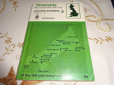 Western National Bus Coach Rail Ferry Timetable Cornwall Area  May 1978 - Nbc