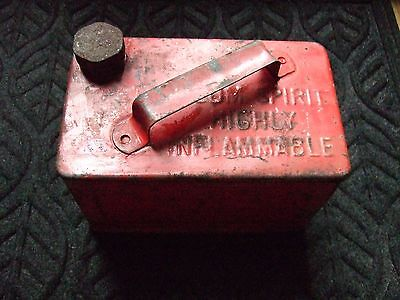 Vintage Empty small red Valor petrol can with brass cap