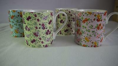 4 x PRETTY QUEENS FINE CHINA MUGS THE CARAVAN TRAIL CARAVAN ROSE CHINTZ V.G.CON