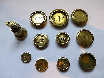 Varied set of 11 imperial & metric measure vintage brass weights