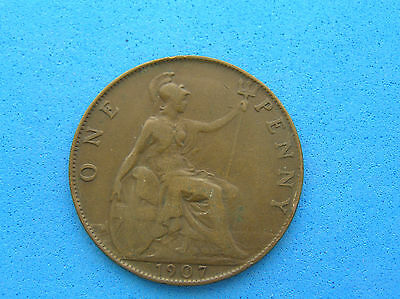 1907 Great Britain One Penny Coin, KIng Edward VII, 30.8 mm