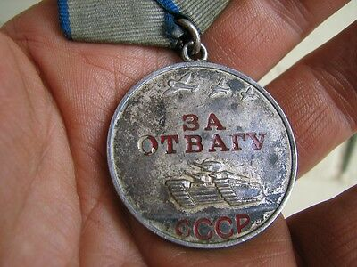 100% Original Soviet Russian USSR SILVER Medal For Courage Medal    #5136
