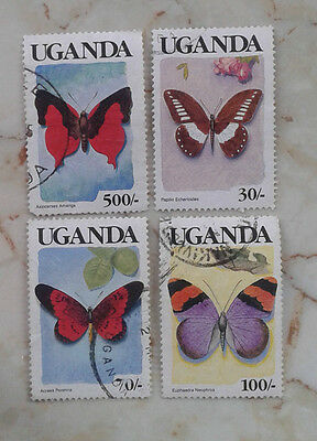 Uganda Butterflies Part Of Set To 500/  4V Stamp  Used