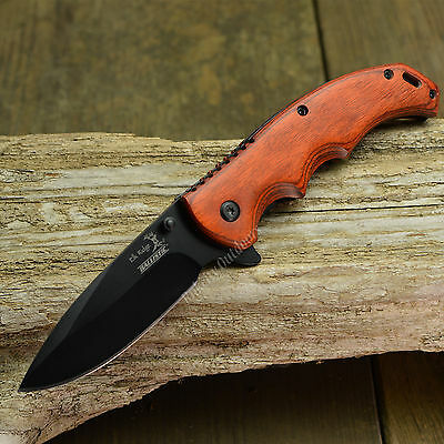 "Elk Ridge 8 3/16"" Spring Assisted Open Gentleman's Folding Hunting Wood Knife"